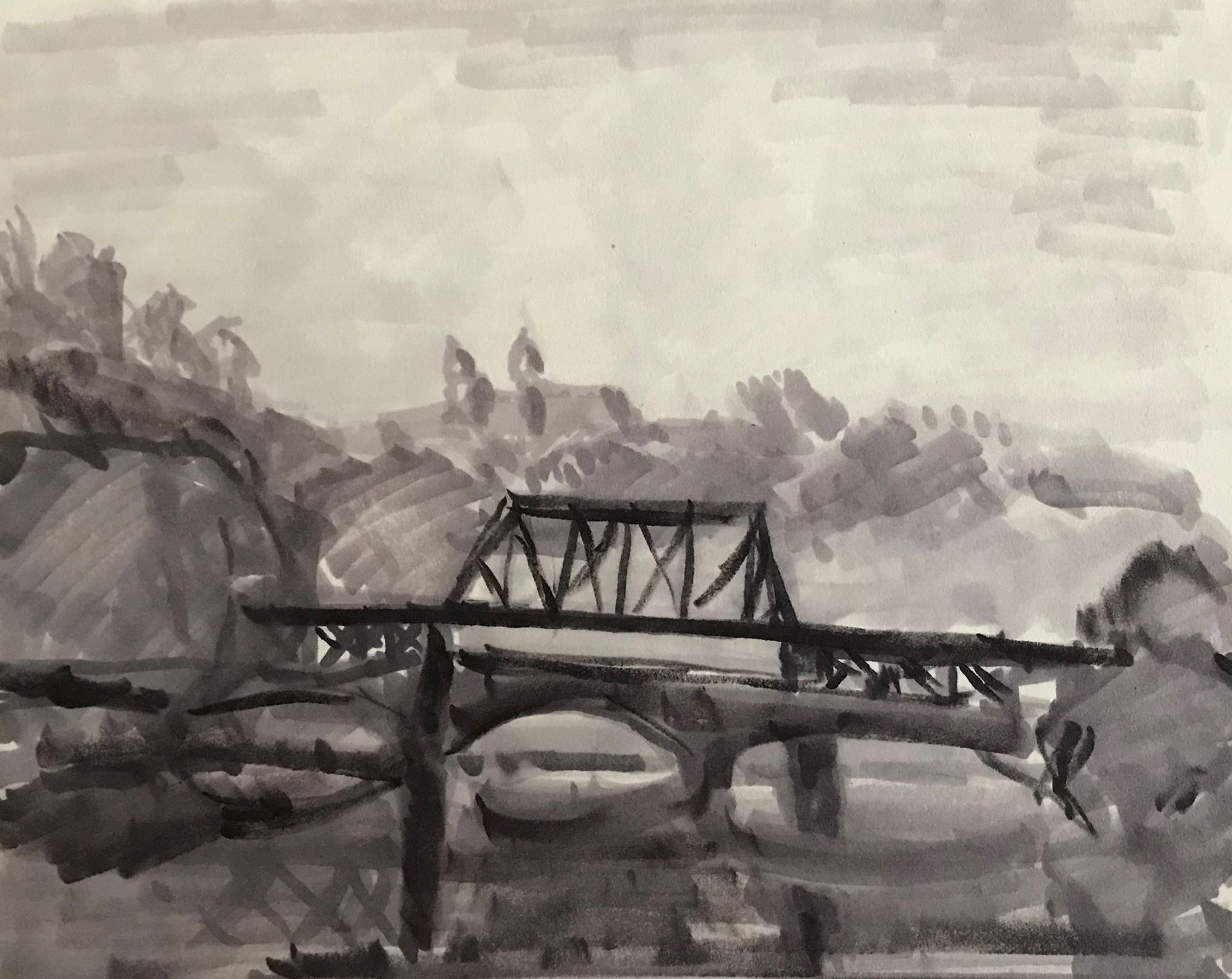 Bridge over the Lehigh (2),  marker on paper, 4x6 inches