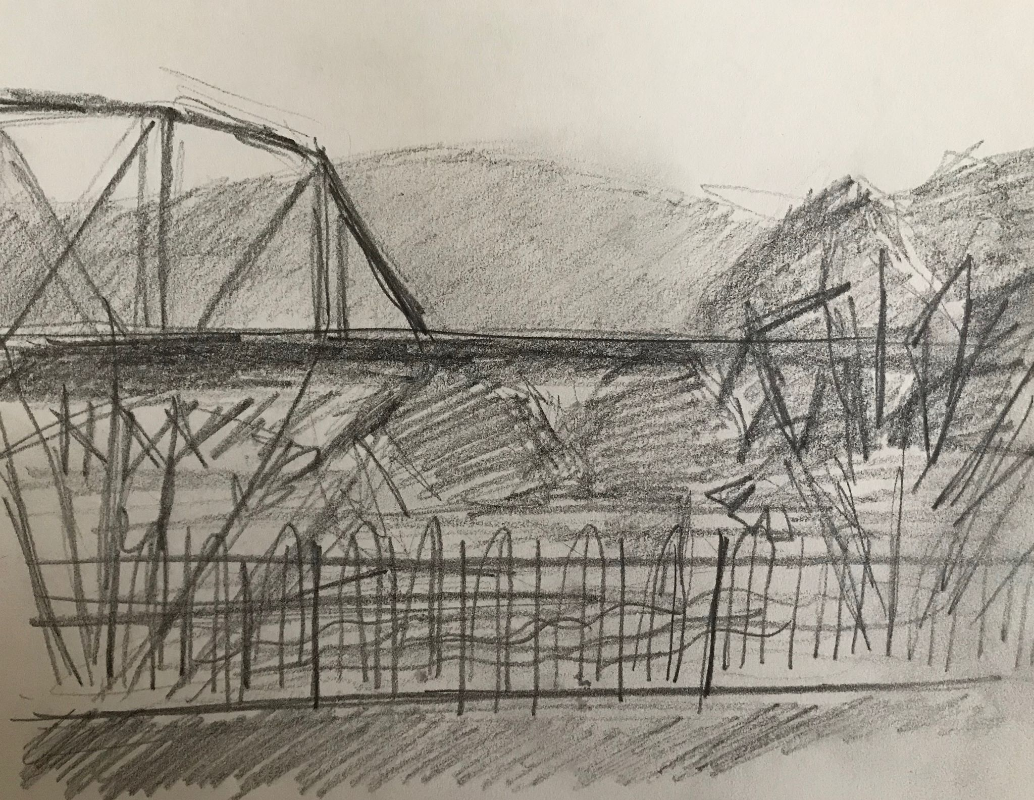Train Bridge over the Merging Rivers , pencil on paper, 6x8 inches