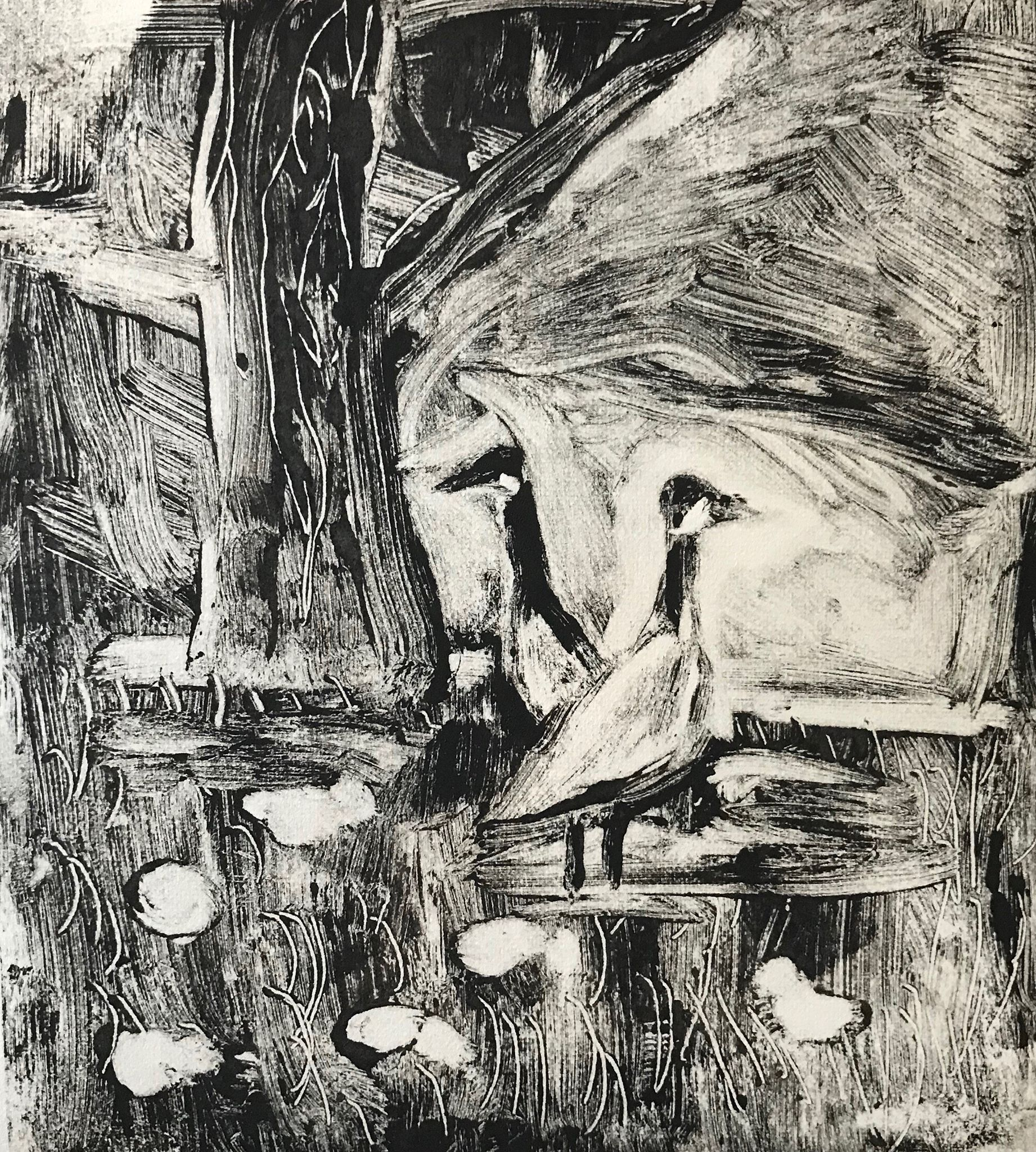"""Family of Geese""  monotype, 6x6 inches"