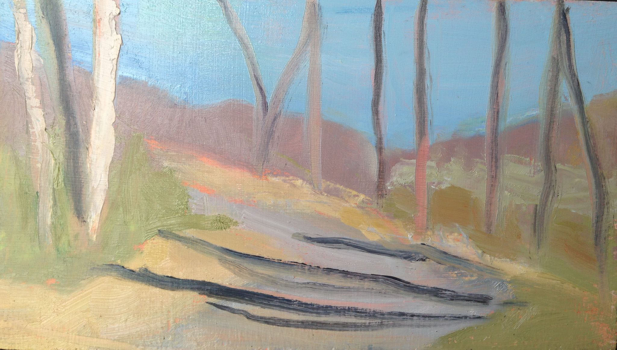 """Path at Jacobsburg Park""    oil on board, 4x7 inches"