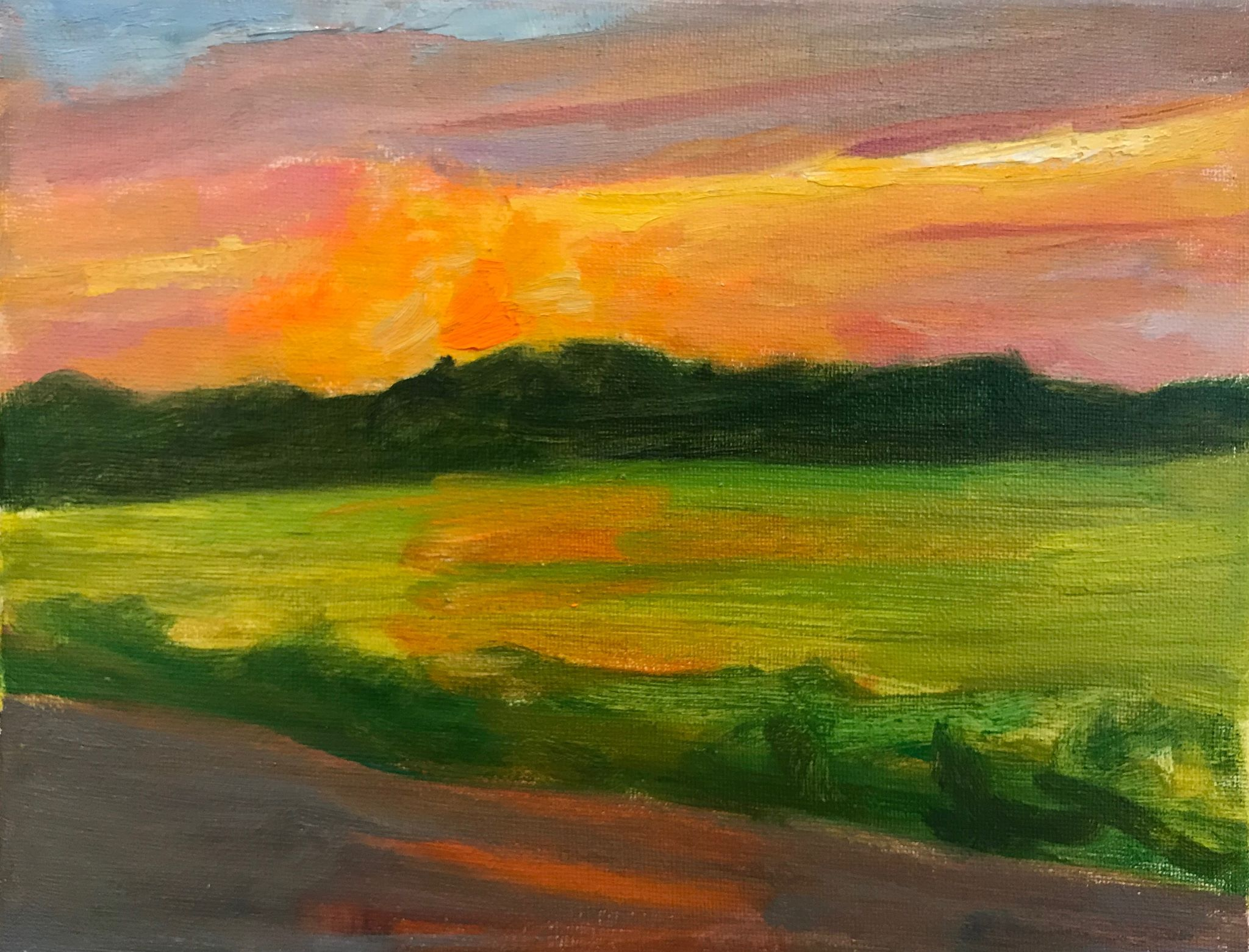 """Sunset over a Farm Field""    oil on canvas, 8x10 inches"
