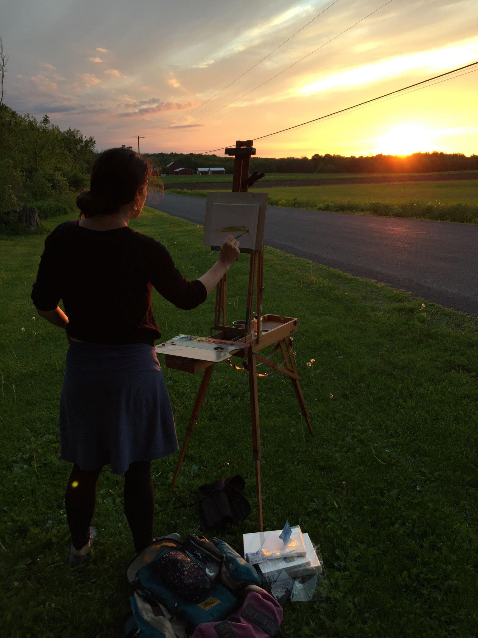 me painting a sunset on a farm road in Groton, New York