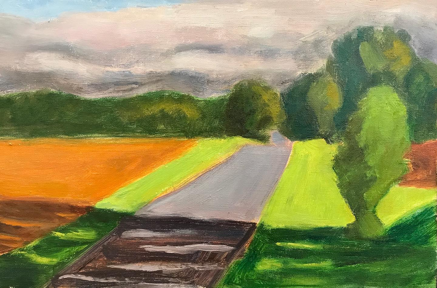 """Morning light on a farm road""    oil on linen mounted on board, 7x10.5 inches"