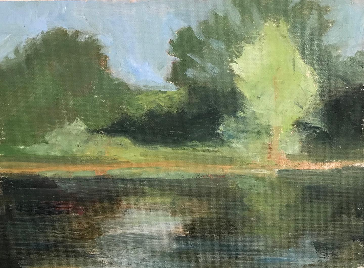 """Grampy's Pond""    oil on linen mounted on board, 7x10.5 inches"