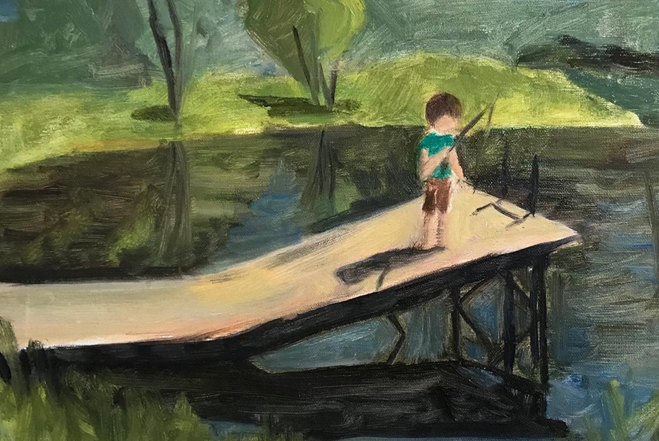 """Fishing at Grampy's Pond""    oil on linen mounted on board, 7x10 inches"