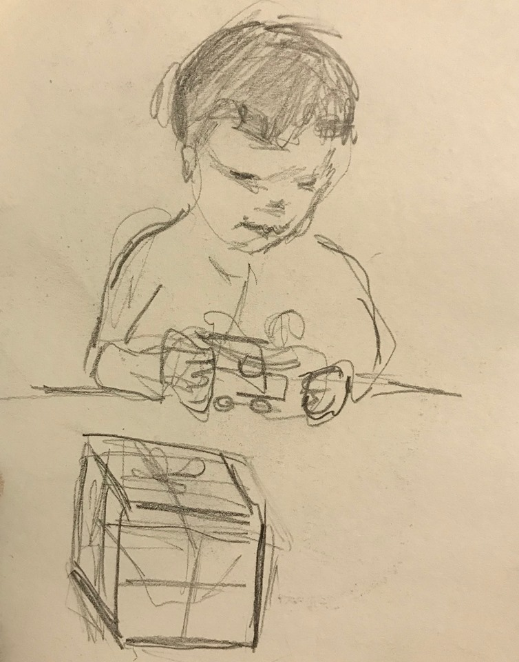 sketch of my 3-year-old nephew, Sully, playing with a toy truck    More sketches of Sully:    Toddler Encountering a Puddle