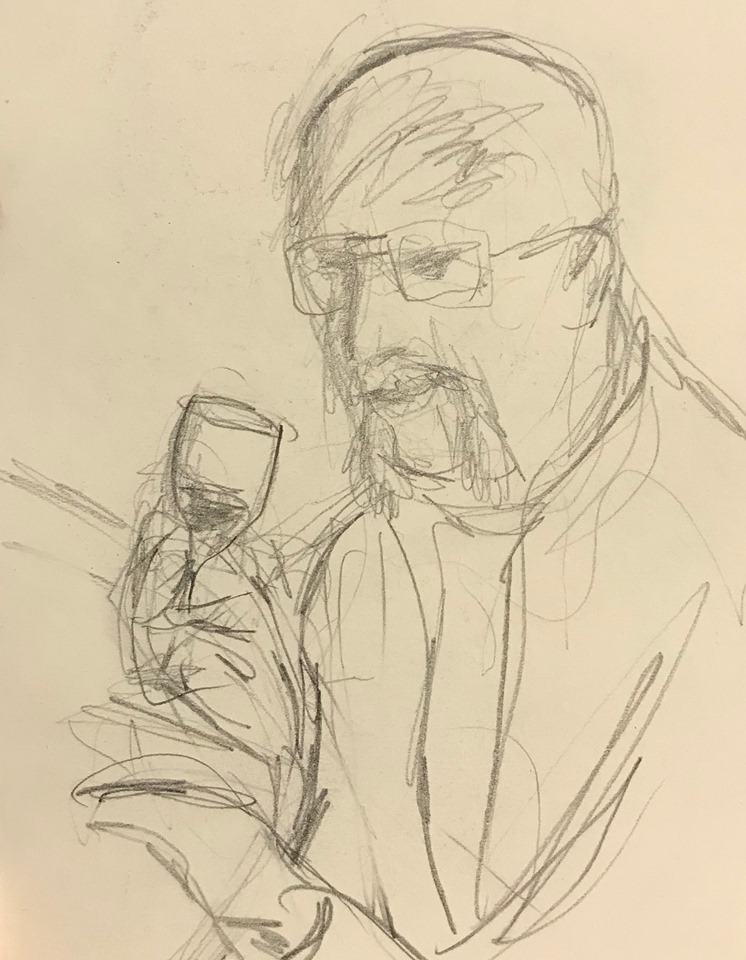 pencil sketch of Grampy drinking red wine