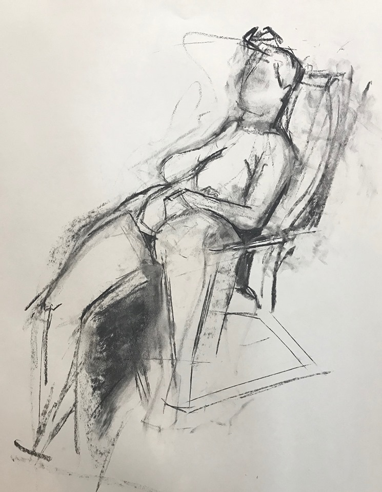 Figure reclining in a chair (1), charcoal on paper, 24x18 inches (my drawing)