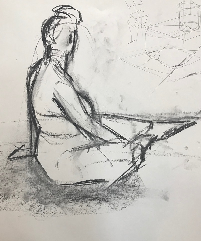 Seated Figure, Turning Away, charcoal on paper, 24x18 inches (my drawing)