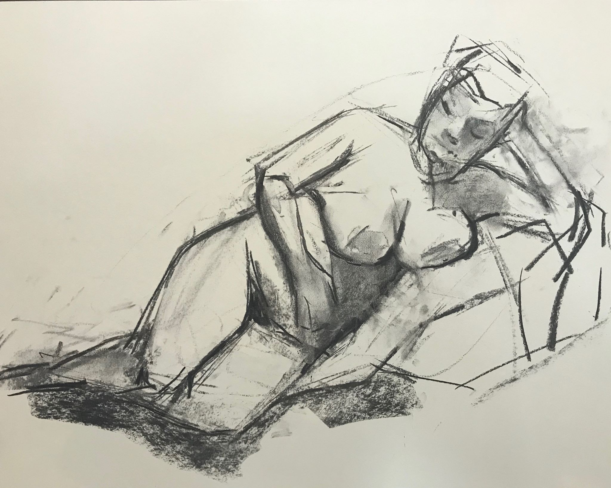 Figure Lying on her Side, charcoal on paper, 18x24 inches (my drawing)