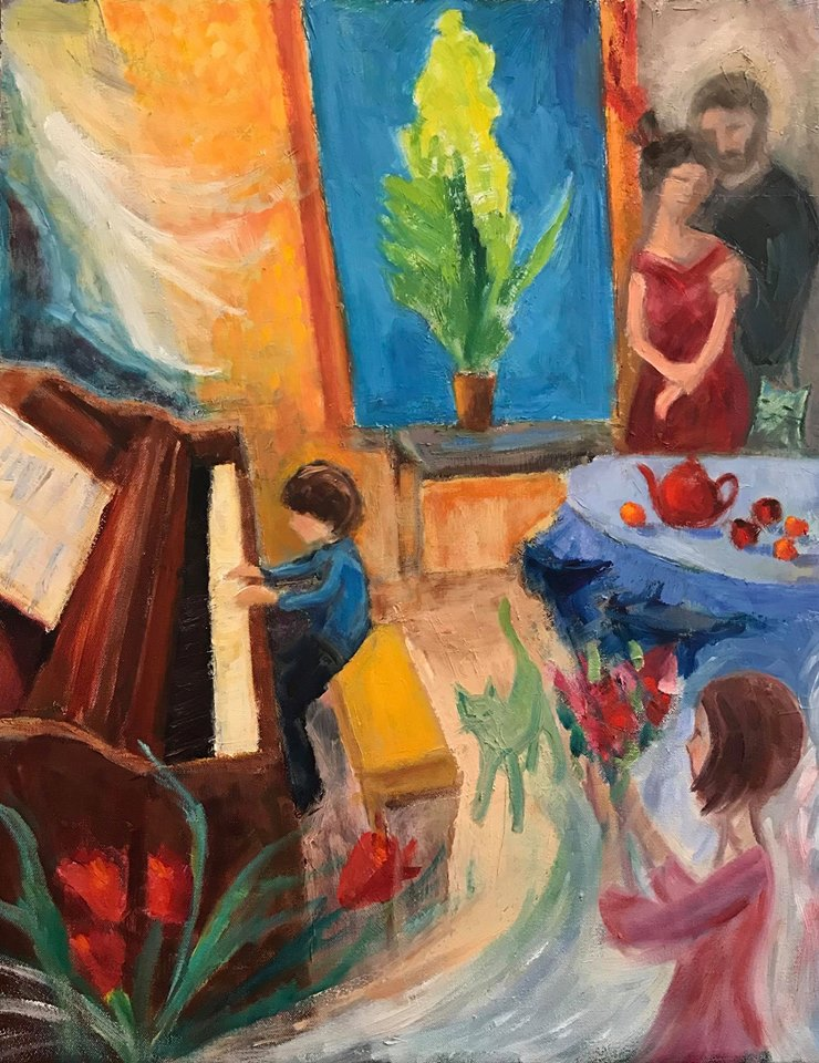 """   Piano Music""    oil on canvas, 28x22 inches"