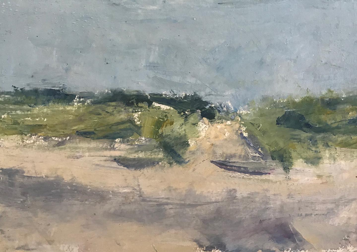 """Beach dunes at dawn""    oil on paper, 5.25x8.25"