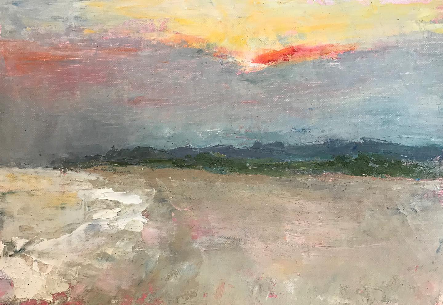 """Sunset at Cove Beach"" oil on linen mounted on board, 7.25x10 inches"