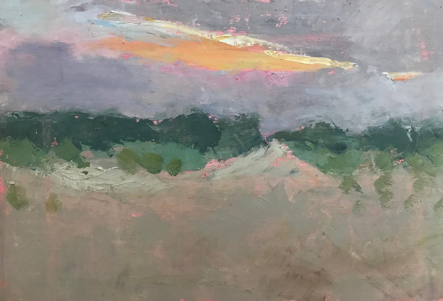 """Sunrise over beach dunes""    oil on linen mounted on board 7.25x10.75 inches"