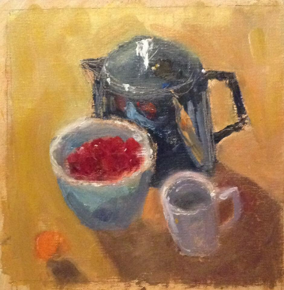 """Strawberries at Mom's house"" oil on linen mounted on board, 6x6 inches"