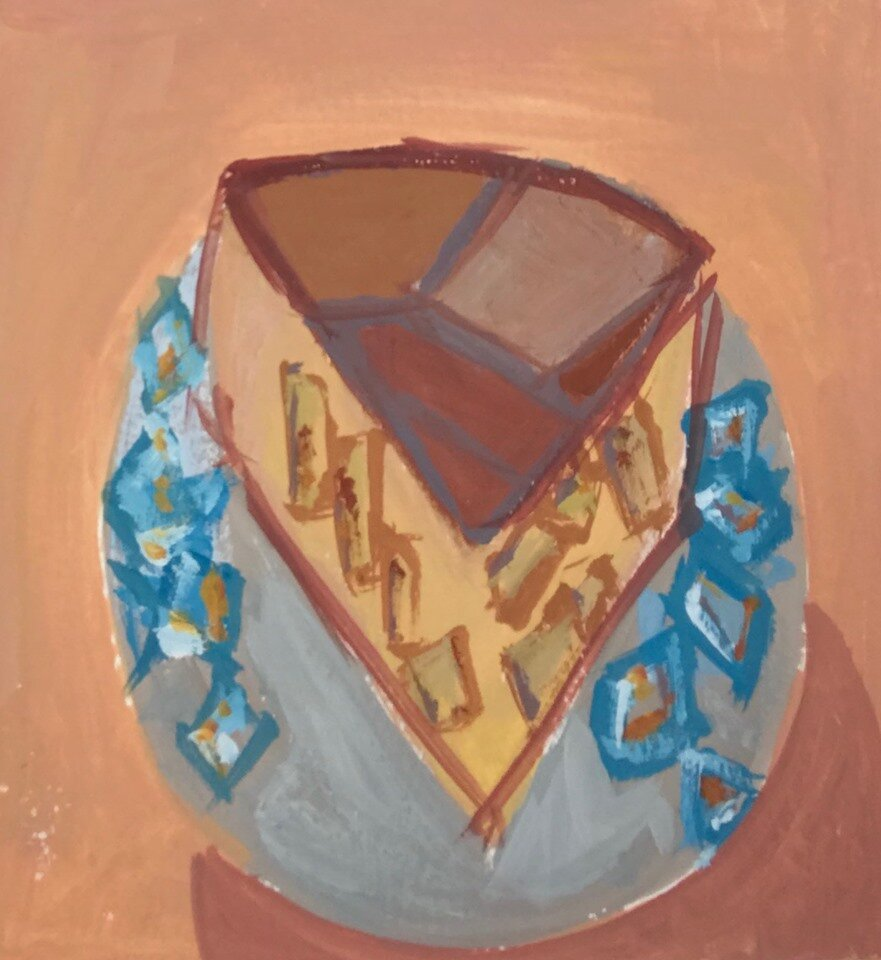 """Apple pie on a blue-patterned plate"" gouache on paper, 5x5 inches, by Rachel Engh."