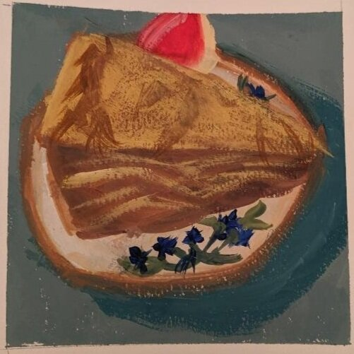 """Apple pie and apple slice"" gouache on paper, 5x5 inches, by Deb Boyer."