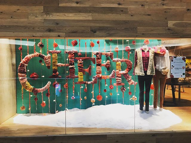 """Yay! What a great week it has been! Window install went up without a hitch AND my perfect nephew was born... you could say there's much to be """"CHEERful"""" about 😂🙄🎄👶🏻 #displayartist #artistatwork #auntieatwork #visualdisplay #visualmerchandising #artist #destinationshopping #ctnow #love #color #texture"""
