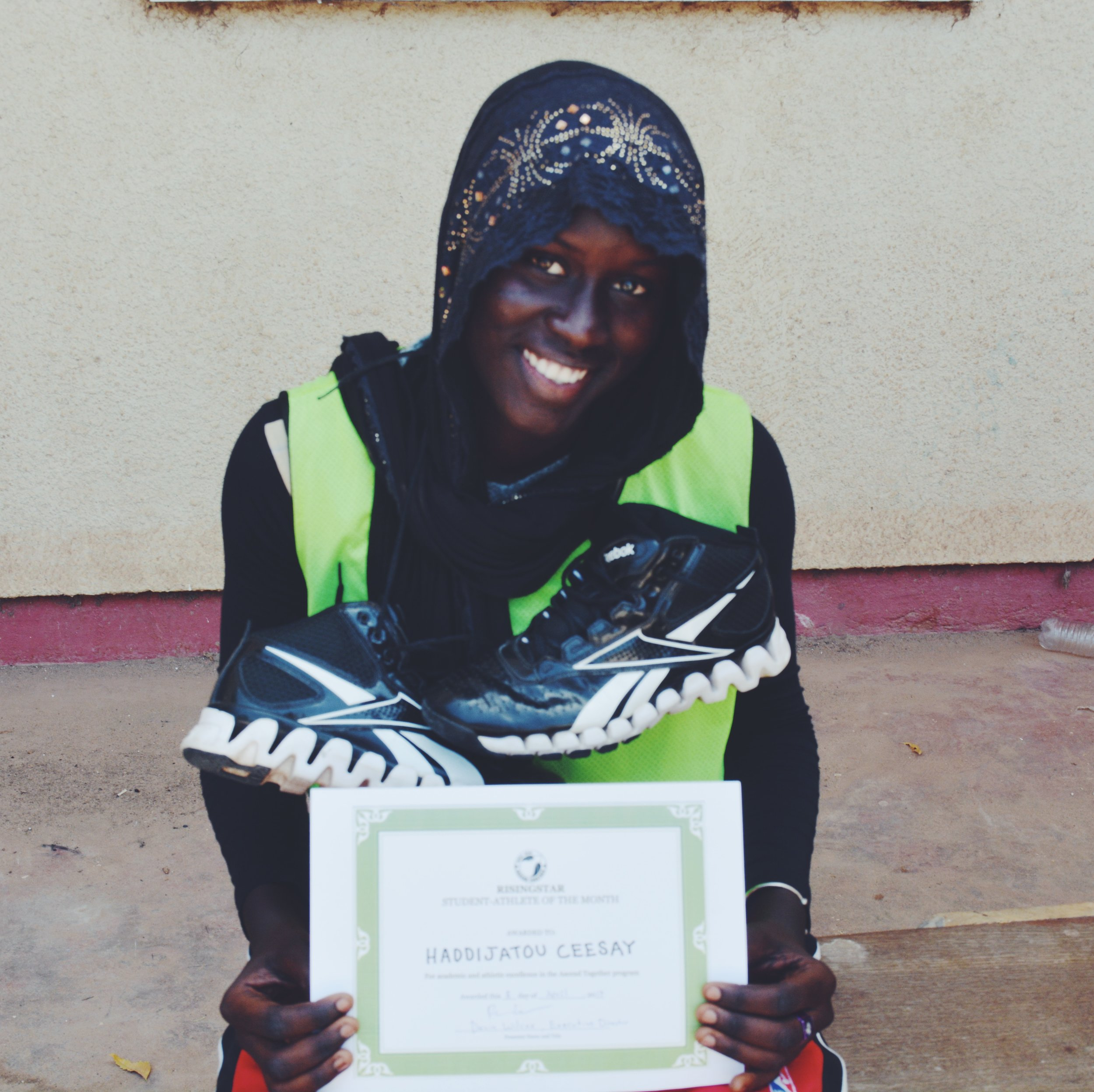 Haddijatou Ceesay, 16 years old, grade 11. Kotu Student-Athlete of the Month, March 2017.