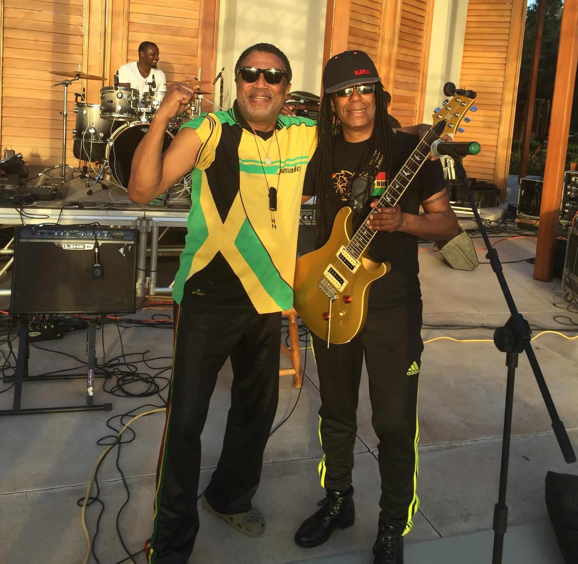 Tyrone Downie and Junior Marvin.  Photo taken at Amanyara Resort in Turks and Caicos NYE 2015.