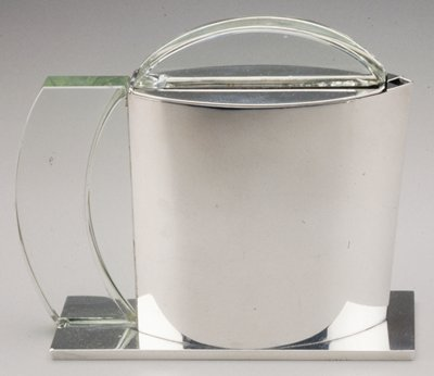 Jean Puiforcat, Coffee pot, from a five-piece coffee and tea service, 1925. Silver and optical glass.