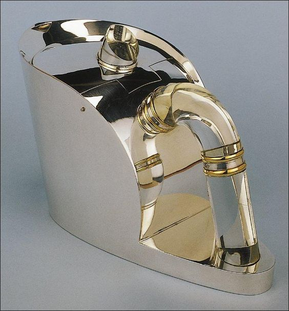 Jean Puiforcat, Teapot, 1938. Silver-gilt and rock crystal.