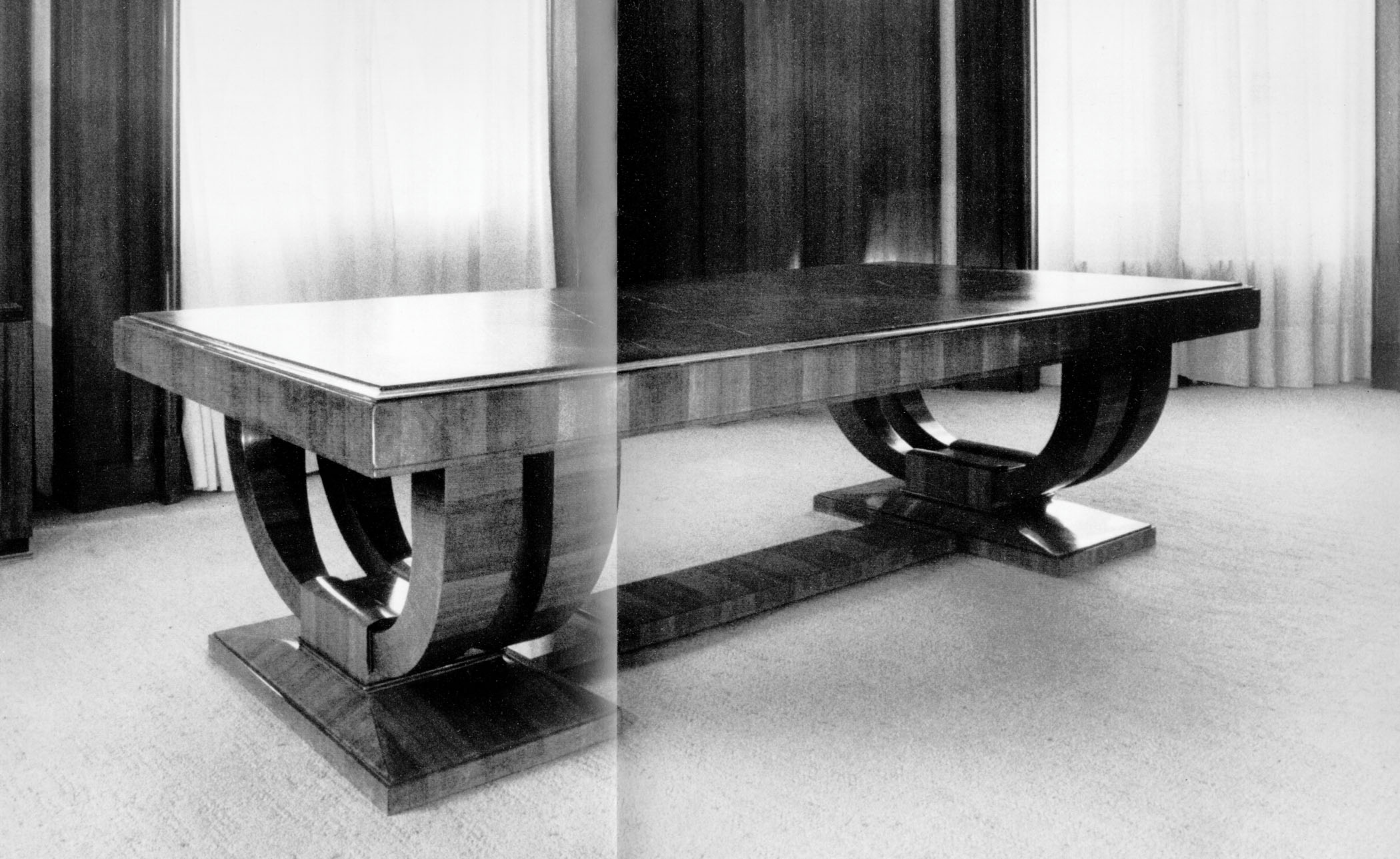 Émile-Jacques Ruhlmann, Dining Table. Rosewood, Green morocco, Silver plated Bronze. Specific year unknown. Pre-1933.