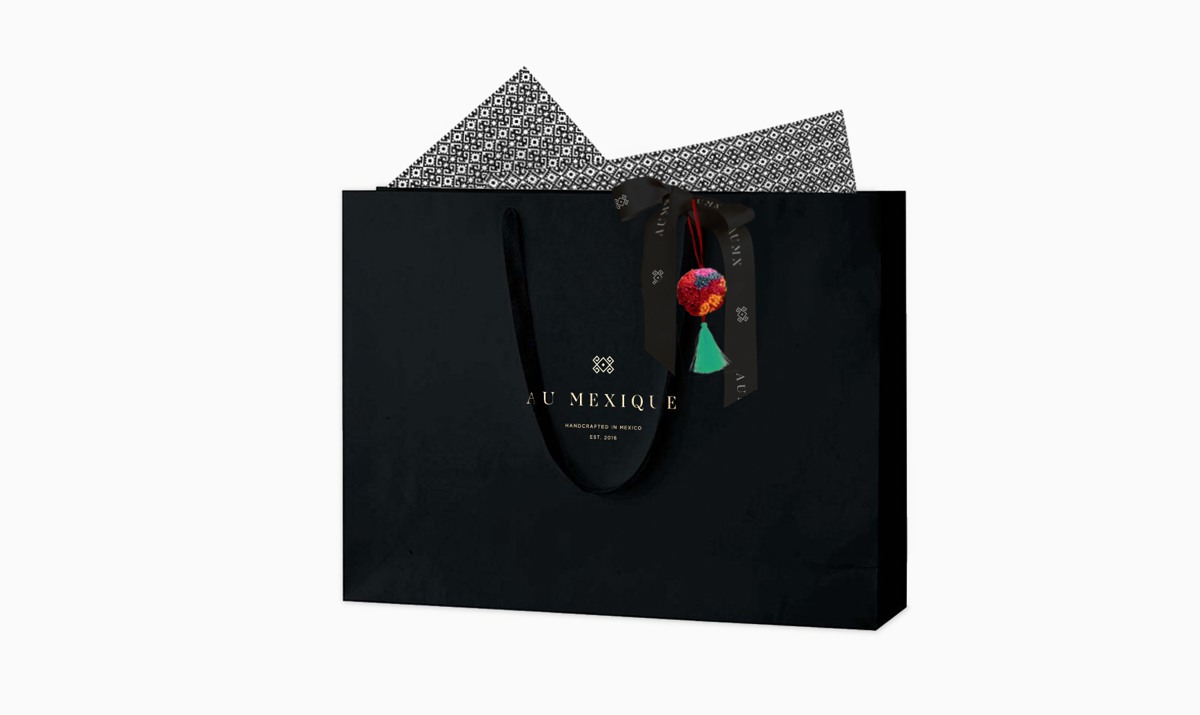 pom pom paper black bag