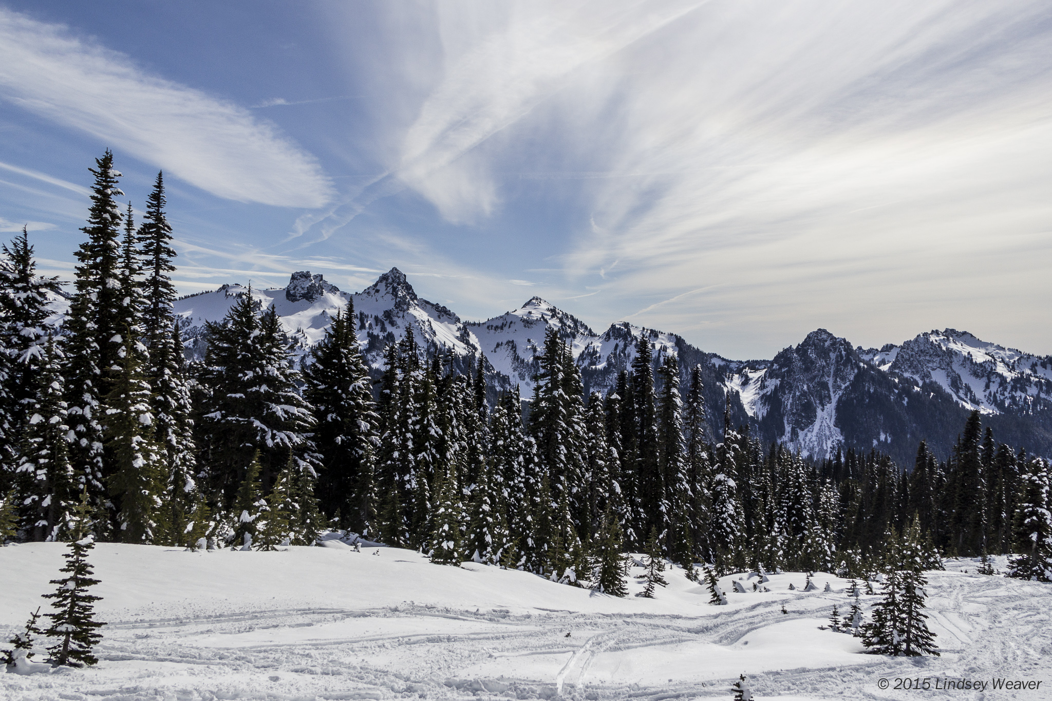 Wispy clouds over the Tatoosh Range