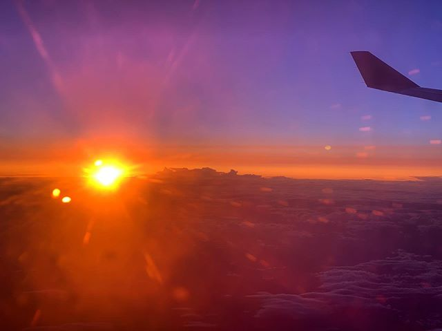 En route. | Somewhere over the Canadian Rockies (I think). (1 September 2019) ||| #sunset #intheair #airplanesunset #nofilter #sunflare #aerlingus #skysunset #andweavefoundhoneymoon