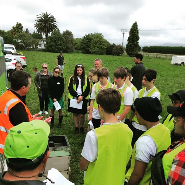 Owen from @plantandfood giving students from the Eastern BOP a lesson on #beehives at Cultivate Your Career in #opotiki today