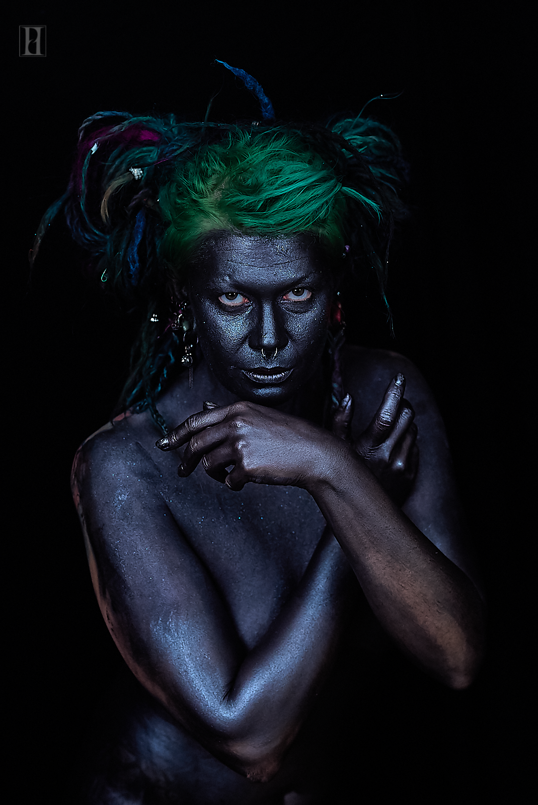 I used 3 different types of glitter and pigments. With every subtle movement of my model, the reflection of the color and texture changed. You can see in almost every shot how the color and highlights changed.  The lights I used are very nice and inexpensive flicker free video light.  http://amzn.to/2CACEJD   I used the Rokinon 50mm for my  Sony  A7 series camera.  http://amzn.to/2Czk0ll