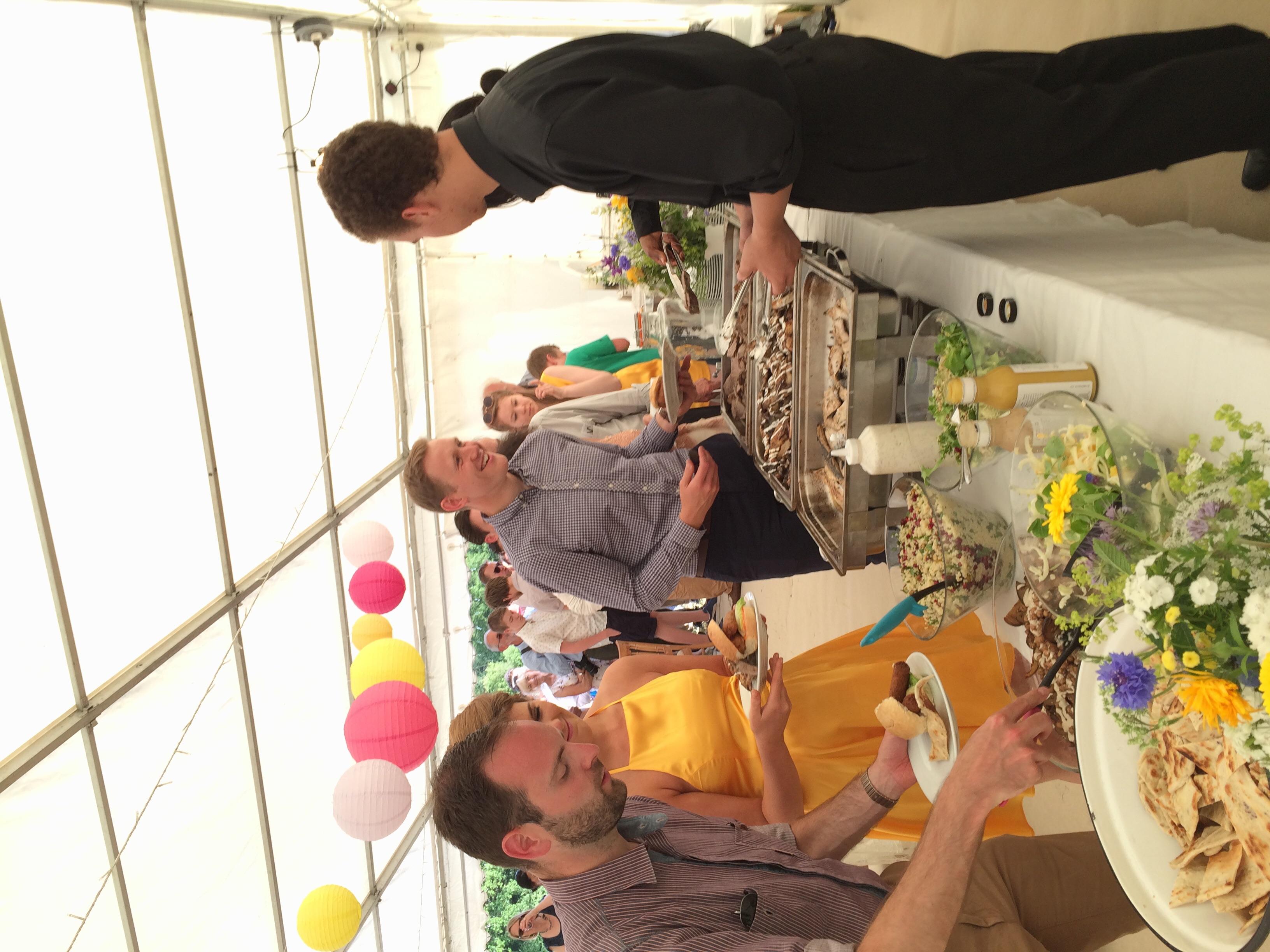 Guests enjoying a wedding bbq in Kent last weekend