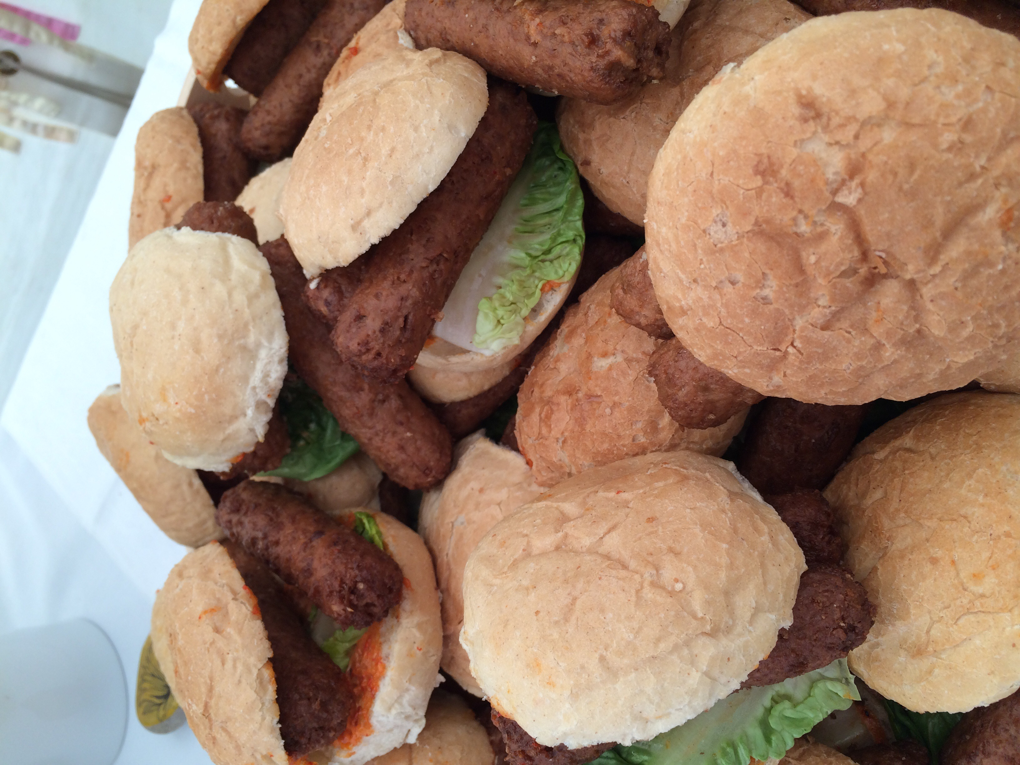 Veggie sausages in crusty buns are a very popular option