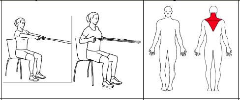 Fest strikken i brysthøyde og sitt med ansiktet vendt mot festepunktet. Ta tak i strikken med begge hender og trekk strikken mot brystet. Før langsomt tilbake og gjenta.