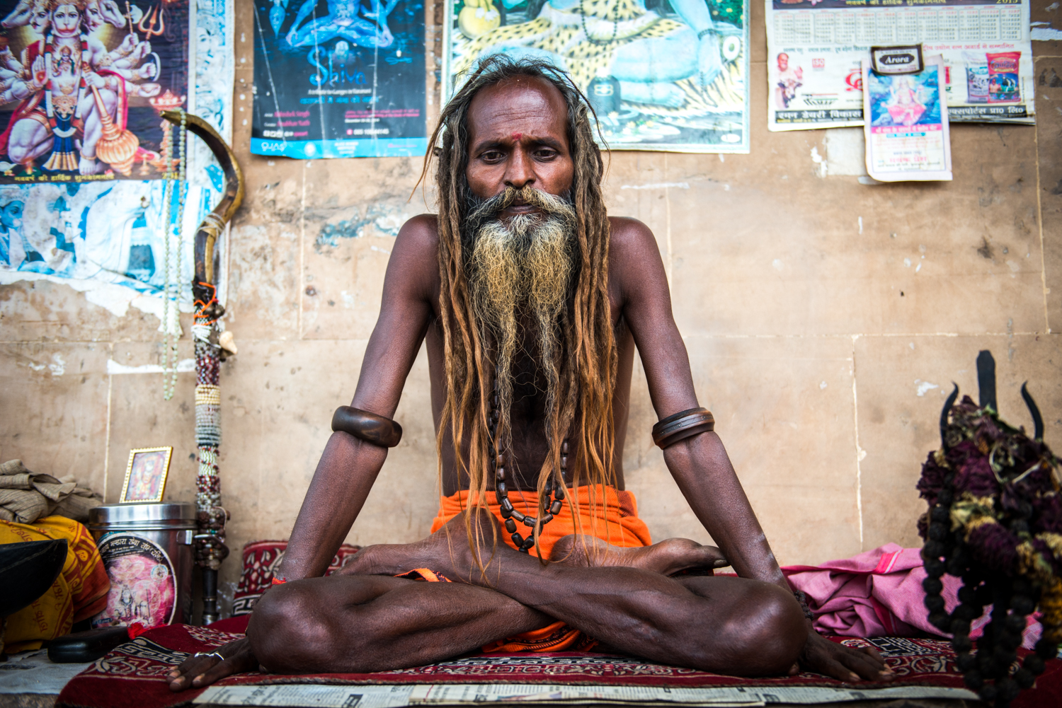 At times it is hard to distinguish between Gurus who are actually practicing, and Gurus who play the part for tourist attention - Varanansi, India.