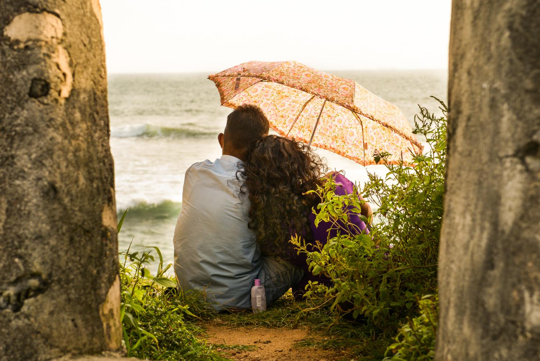 A couple enjoys a sunset - Galle City, Sri Lanka.