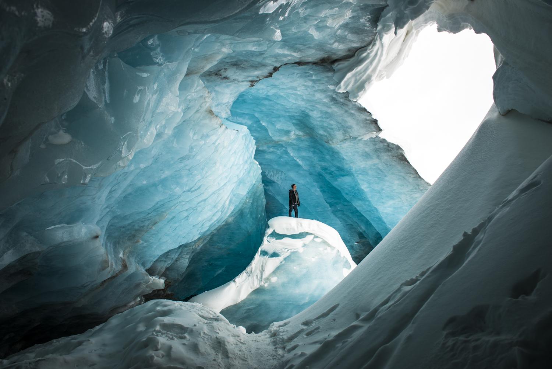 Exploring in athabasca glacier