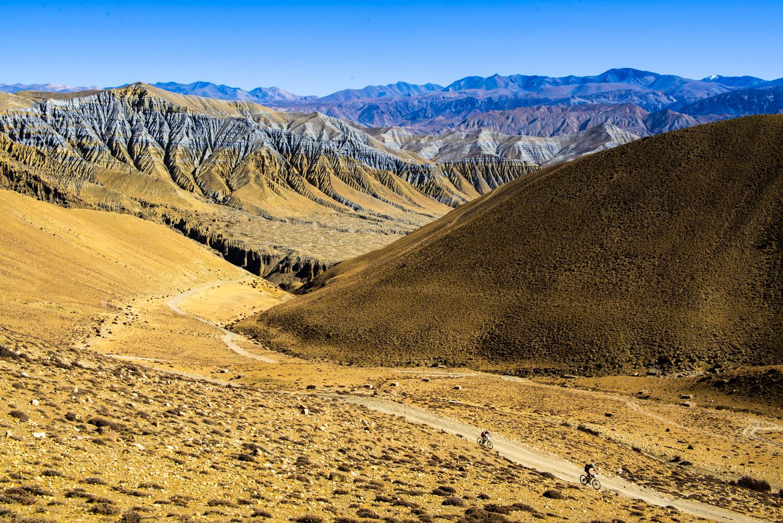 Mountain Bikers enjoy views in mustang, Nepal.