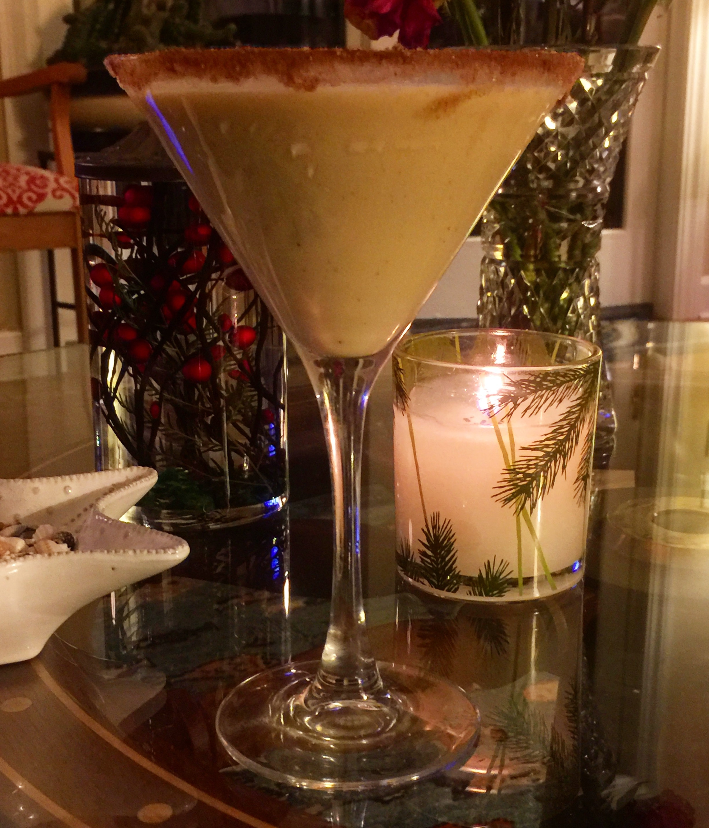 Eggnog Martini     3 jiggers eggnog    2 jiggers Oysterville Vodka    1 jigger Baileys Cream     Pour into an ice filled cocktail shaker...SHAKE...pour into a chilled martini glass rimmed with cinnamon sugar and top it off with fresh granted nutmeg.  Cheers!