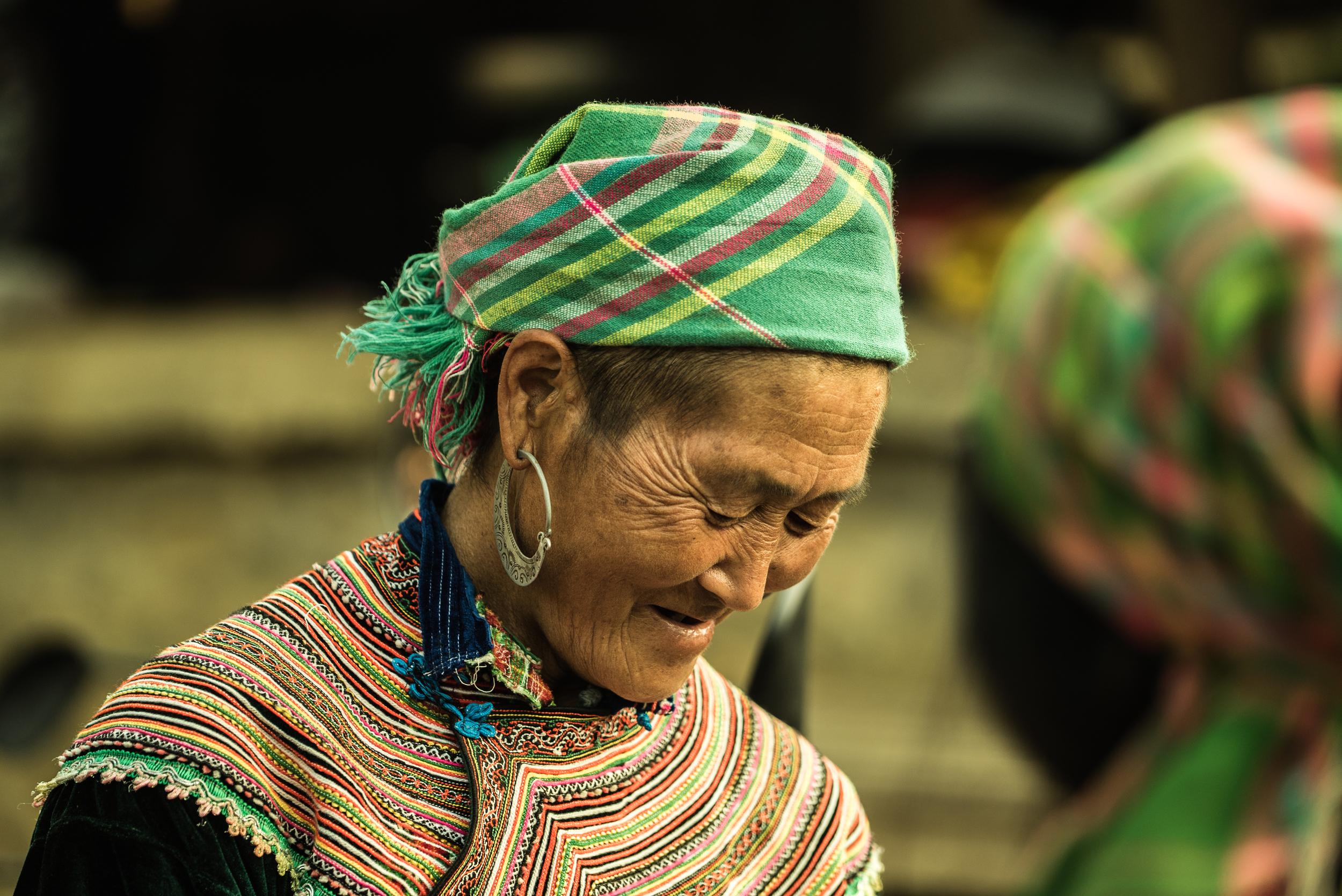 Flower Hmong woman. Can Cau, Vietnam