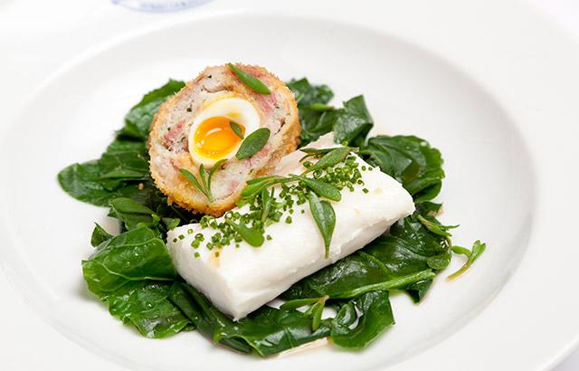 Cornish Cod Salt Cod and Ham Hock Scotch Egg Foraged Greens.JPG