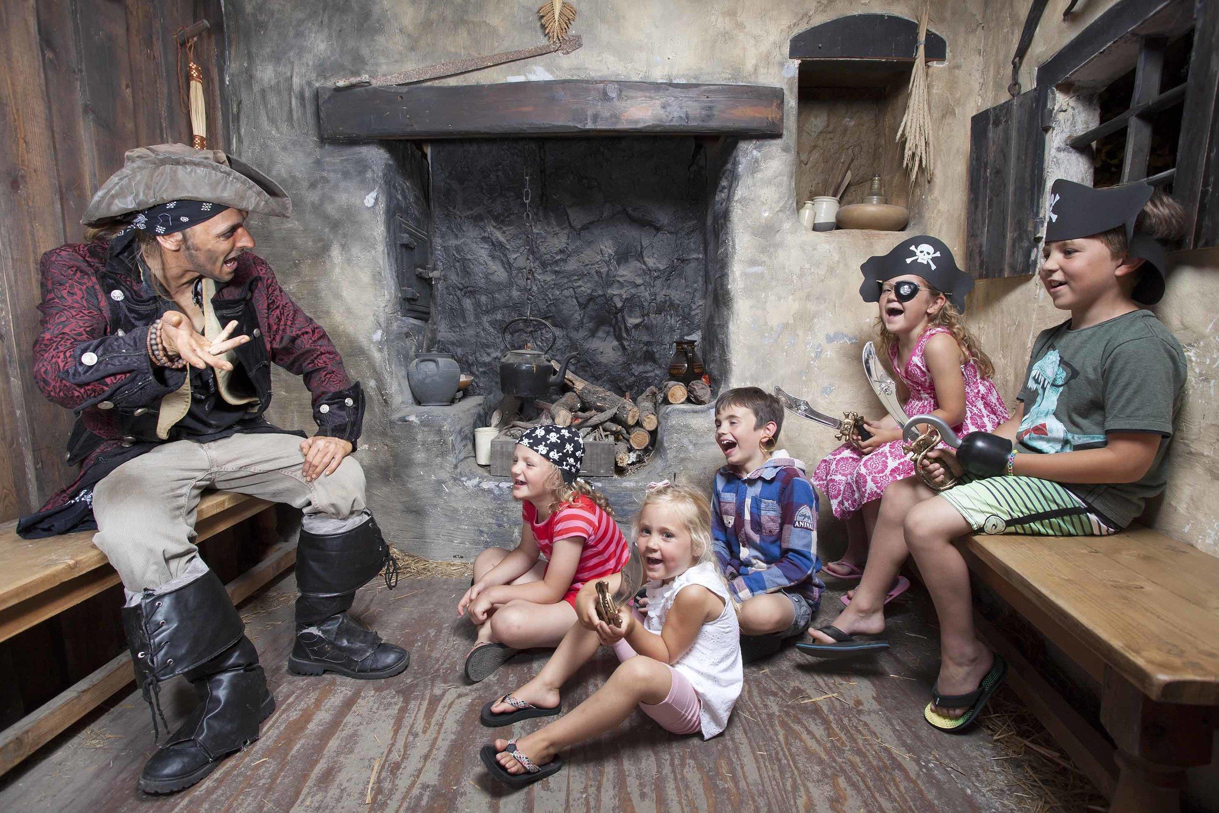 Children enjoy some swashbuckling storytelling at Pirates Quest Newquay, Cornwall.jpg