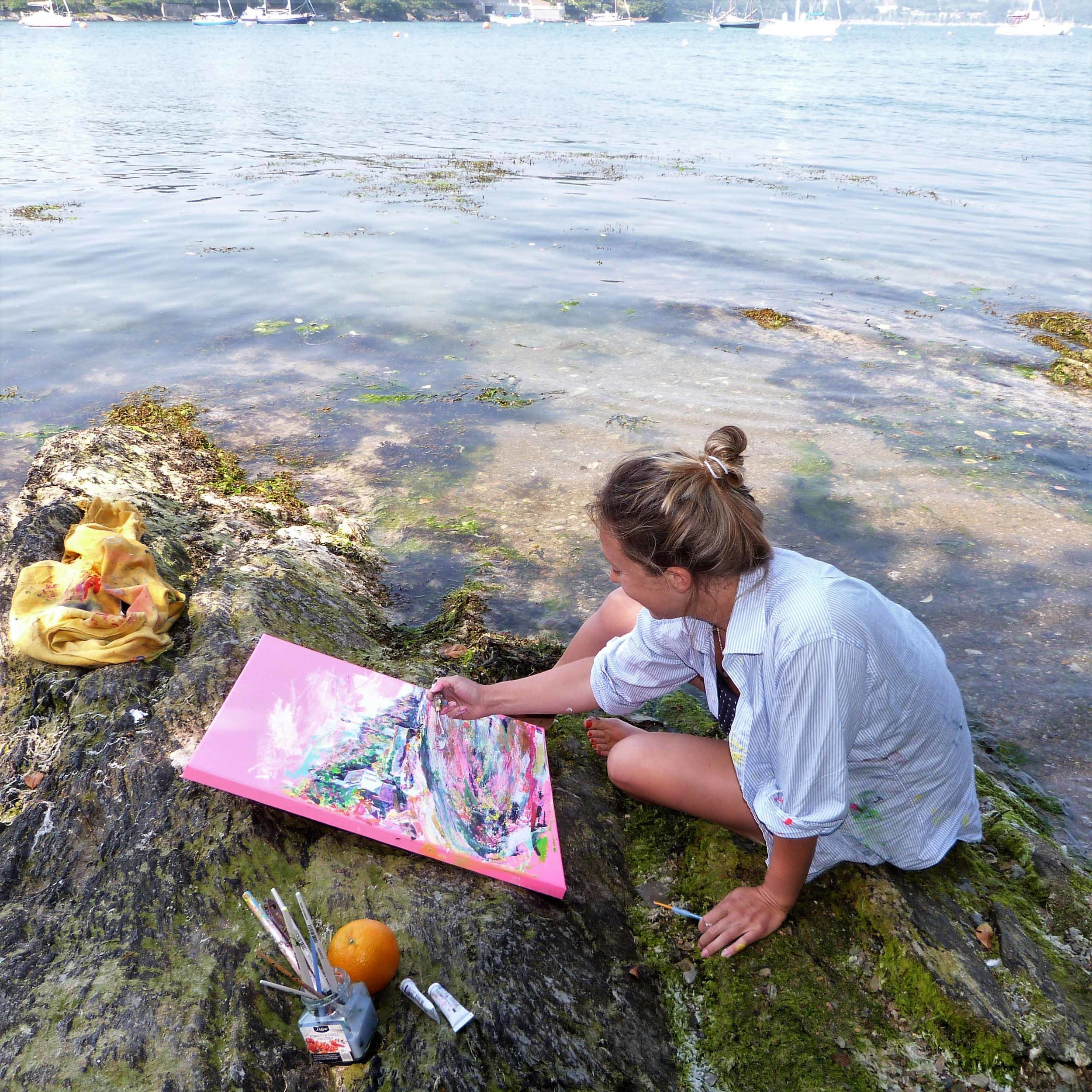 170711 Chloë Tinsley painting the Cornish Idyll, taken by Matthew Dale low res.jpg