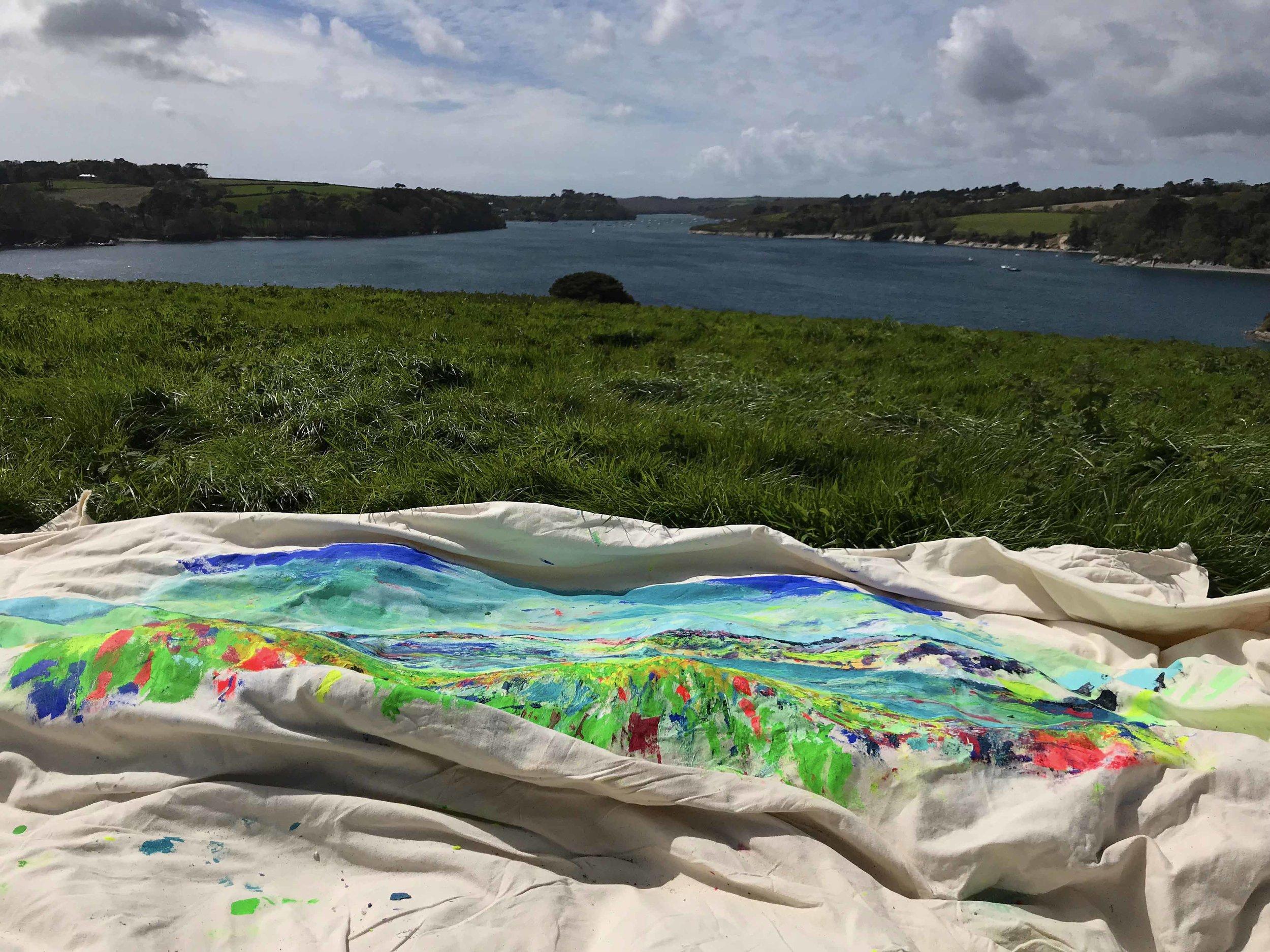 180717 Chloë Tinsley Cornish Artist Painting in Situ on the Helford River Cornwall low res.jpg