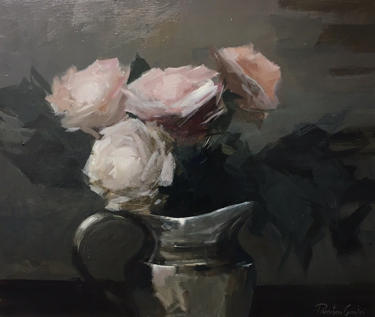roses in a silver jug,20 x 24 inches, acrylic on canvas.jpg