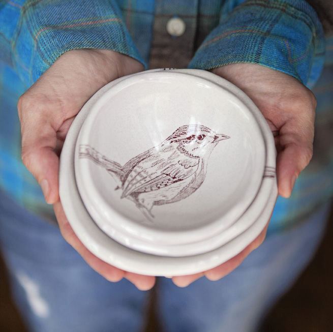 new 2016 version of the nesting bird bowls. creamy speckled glaze with new drawings.