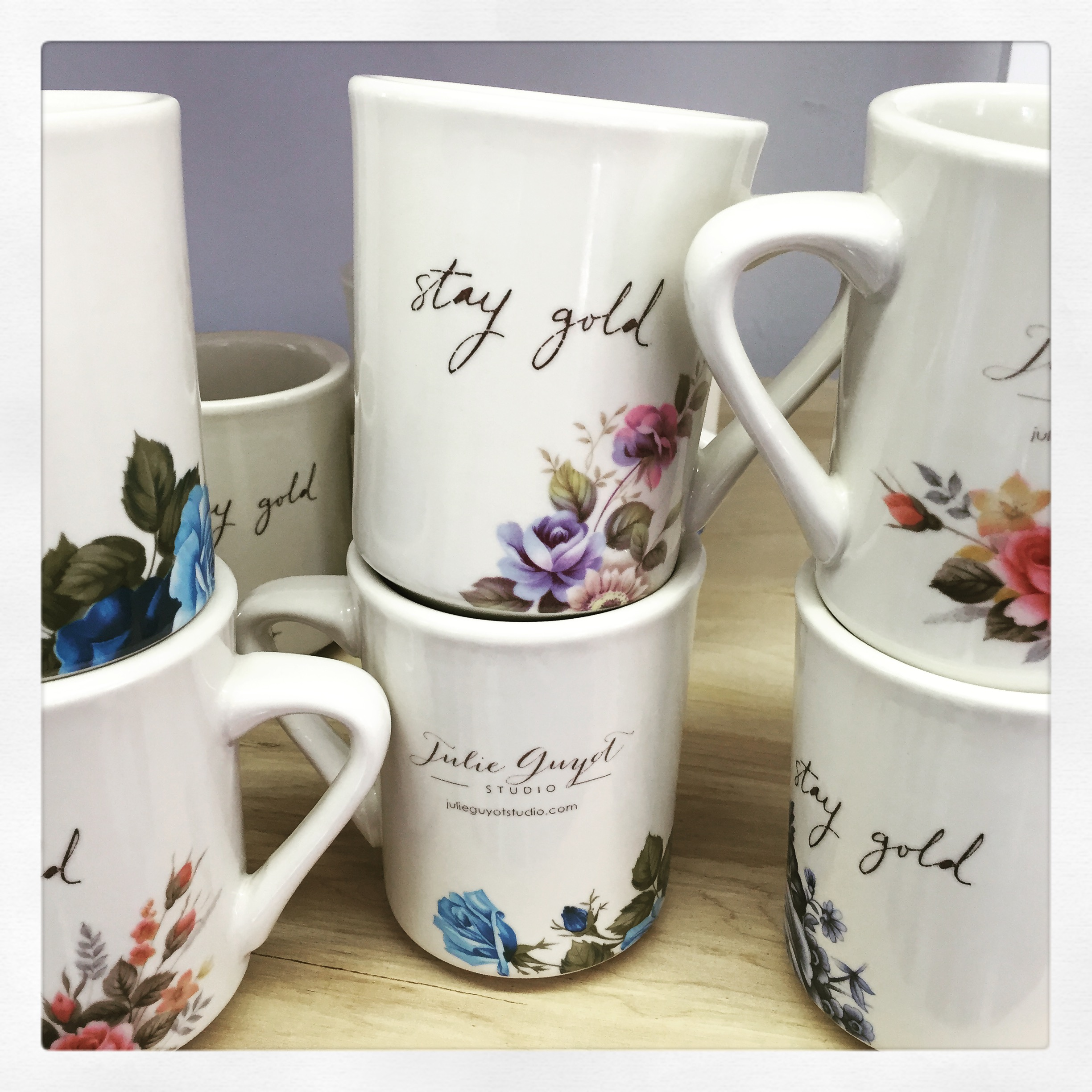 from Six Milk Cows-my not quite handmade line. re-purposed restaurant mugs with hand lettering and florals.