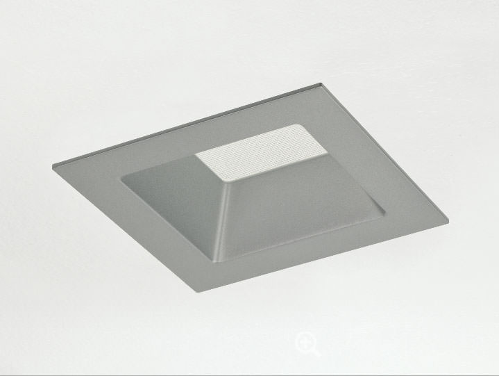 Square Trimmed Downlight in Silver with Frosted Lens