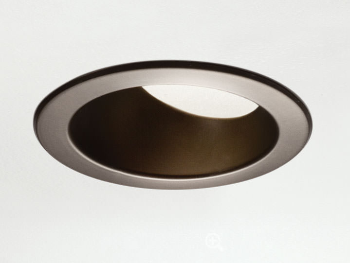 Round Trimmed Wall Wash or Adjustable in Bronze with Frosted Lens
